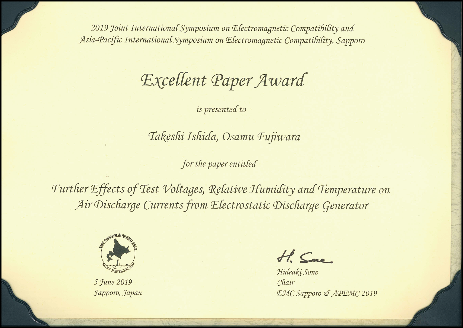 Excellent paper award
